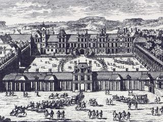 Engraving depicting the Château de Fontainebleau with its Special Military School